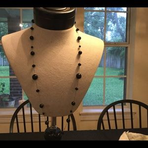 Jewelry - Black bead and silver tone necklace and earrings